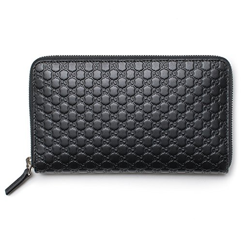Gucci Black Wallet GG Guccissima Mini GG Large Zip Around Continental Box Leather Italy Bag New