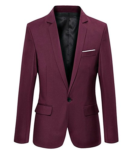 Benibos Mens Slim Fit Casual One Button Blazer Jacket (XL, 302Burgundy)