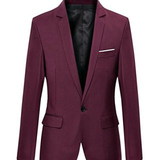 Benibos Mens Slim Fit Casual One Button Blazer Jacket (XL, 302Burgundy)