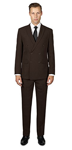 Alain Dupetit Men's Double Breasted Suit 36S Brown