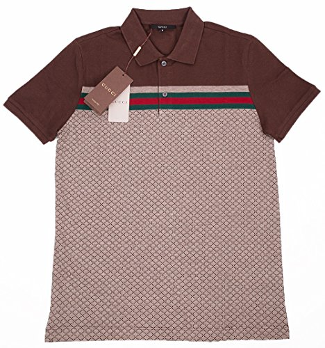 63330e971b5 Home Shop Men Clothing Shirts Gucci Mens Polo Shirt Brown with Diamante  Print and Front Stripe Signature (XL)