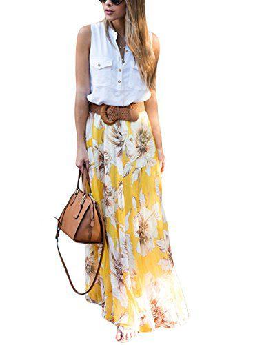Asvivid Women's Summer Bohemian Floral Elastic Waist Chiffon Casual Maxi Skirt Small Yellow
