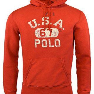 Polo Ralph Lauren Men's Fleece Graphic Hoodie Sweatshirt, Red (Small)