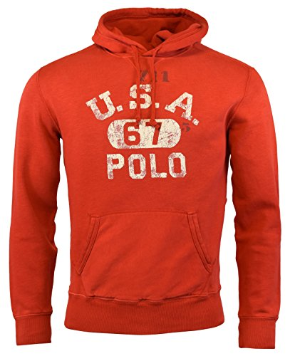 Polo Ralph Lauren Men's Fleece Graphic Hoodie Sweatshirt, Red (Small)
