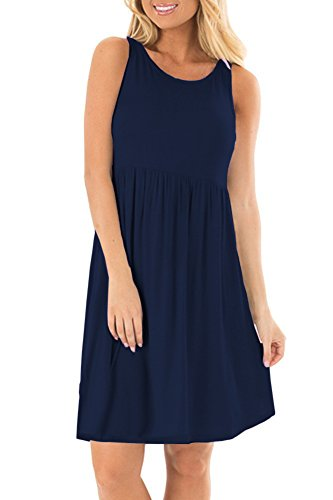 AUSELILY Round Neck Sleeveless Flared Elegant Tank Sundress Above Knee(XL,Navy Blue)