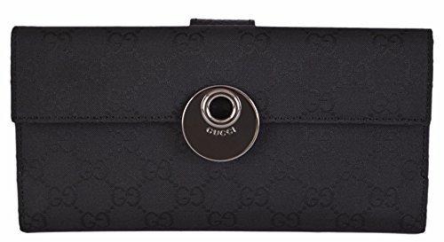 Gucci Women's Black Canvas GG Guccissima Continental W/Coin Wallet