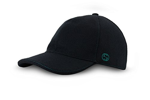 Gucci Signature Web Stripe Wool Baseball Cap, Black (Nero), (M (Medium)/58 cm/22.8 in)