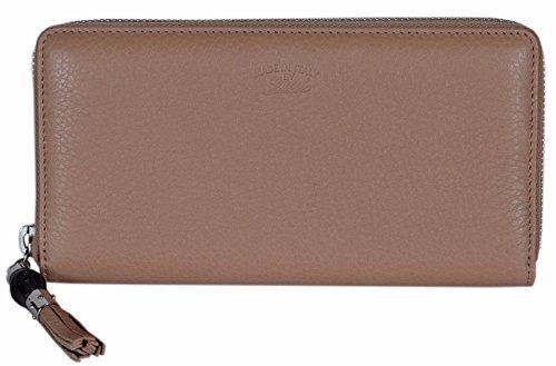 Gucci Women's Beige Leather Trademark Logo Zip Around Wallet