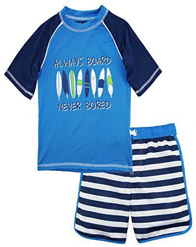 iXtreme Toddler Boys' Stripe Rash Guard Set, Navy, 3T