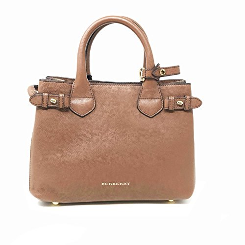 Burberry Women's 'Small Banner' Leather and House Check Handbag Dark Saddle Brown Tan