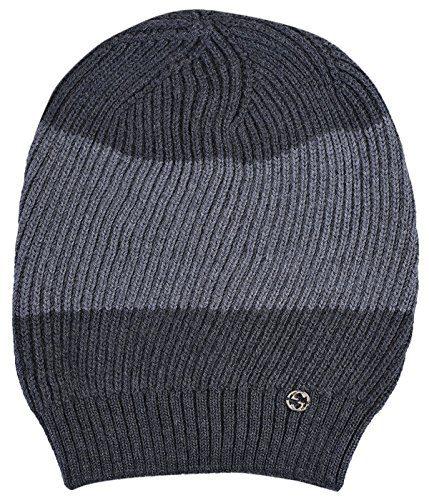 Gucci Gray 100% Wool Interlocking GG Baggy Beanie Hat
