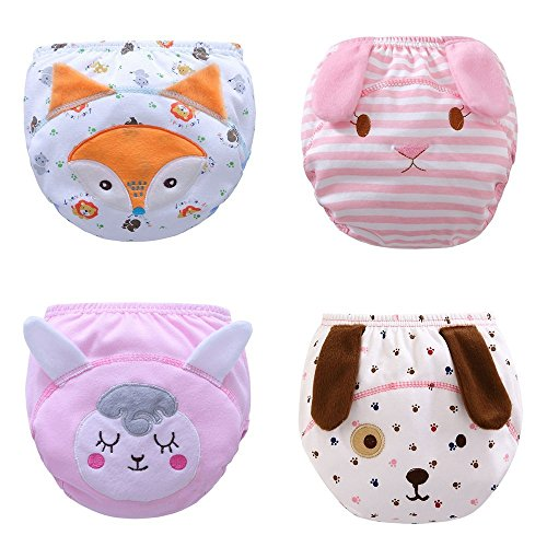 Unisex Baby PP Potty Training Pants TPU Waterproof Diaper Nappy Underwear 4 Packs (A, Size 100: 24-36 Months)