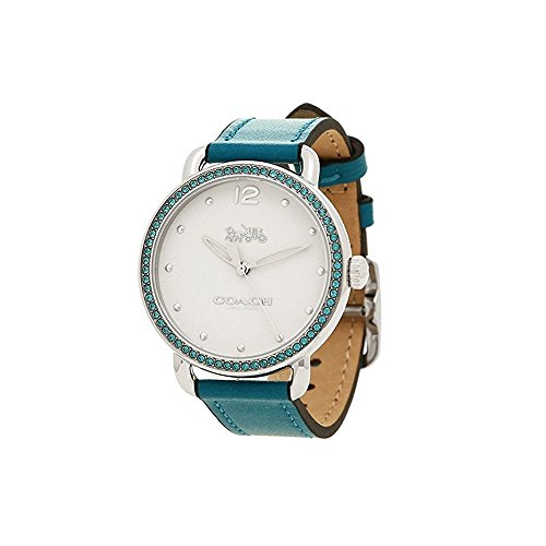 Coach Delancey Crystal White Dial Green Leather Ladies Watch