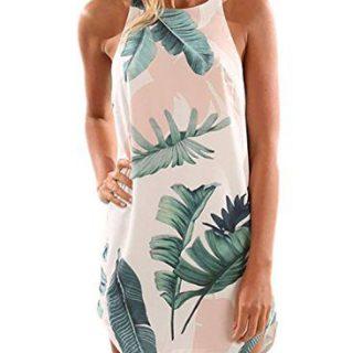 Asvivid Women's Halter Neck Boho Floral Print Chiffon Casual Sleeveless Short Dress X-Large Leaf