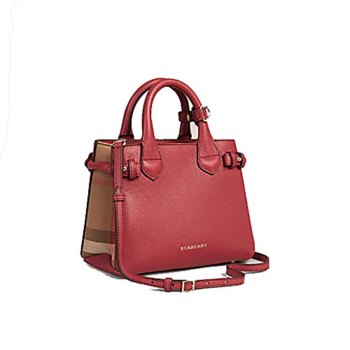 d852b6e3ef Tote Bag Handbag Burberry The Baby Banner in Leather and House Check Ink  Russet Red Item