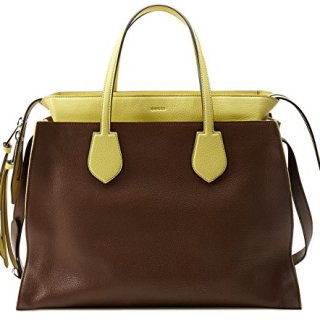 Gucci Brown and Yellow Ramble Leather Layered Tote Shoulder Bag