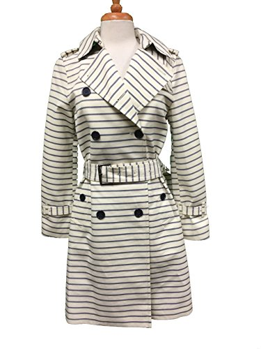 Coach Women's Casual Button Down Striped Long Trench Coat Jacket Large