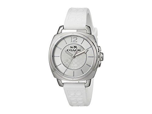 Coach Womens Mini Boyfriend Signature White Strap Silver Tone Watch