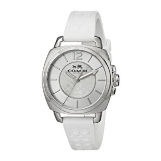Coach Womens Mini Boyfriend Signature White Strap Silver Tone Watch