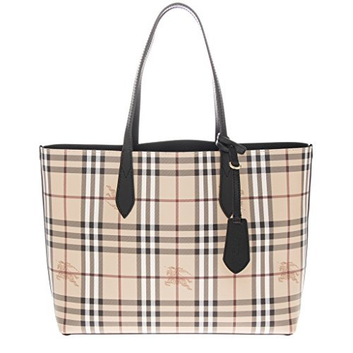 Burberry Women's The Medium Reversible Tote in Haymarket Check and Black