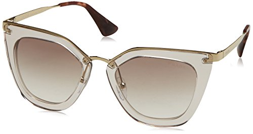 Prada Women's Transparent Sunglasses, Transparent Brown/Brown, One Size