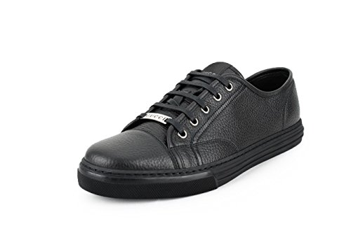 Gucci Men's Pebbled Nappa Leather Low-top Sneakers, Black 10 US/9.5 UK)