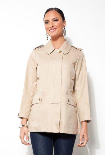 Coach Ladies Balmacaan Khaki Overcoat - Size Small