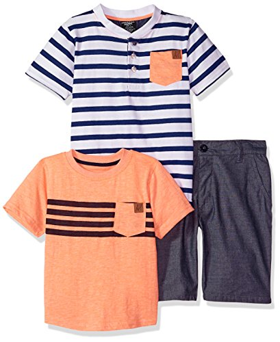 American Hawk Little Boys' Henley, T-Shirt, and Short Set, Coral, 5/6