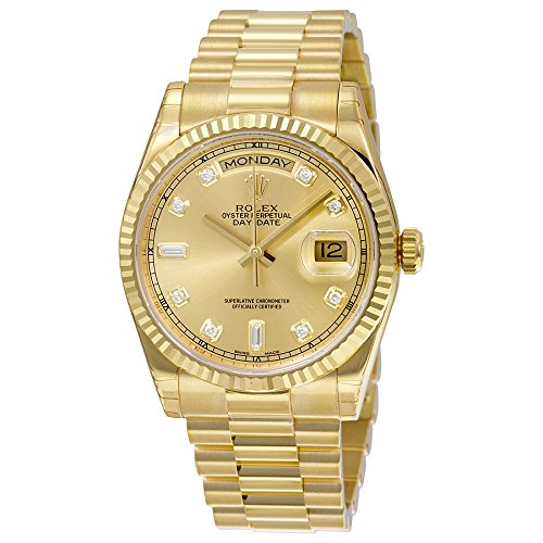 Rolex Men's Day-Date Analog Automatic 18kt Yellow Gold Watch