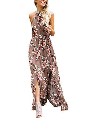 5117a9ff147 Asvivid Juniors Bohemian Floral High Neck Sleeveless Cotton Casual Loose  Summer Beach Maxi Dresses L Flower17