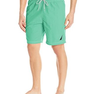 Nautica Men's Solid Quick Dry Classic Logo Swim Trunk, Mint Spring, Medium