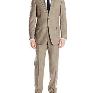 Tommy Hilfiger Men's Two Button Side Vent Suit, Brown, 40 Regular/34 Waist