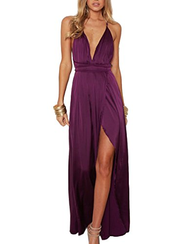 BerryGo Women's Sexy Sleeveless Backless Deep V Neck Split Satin Long Party Dress Gown Purple
