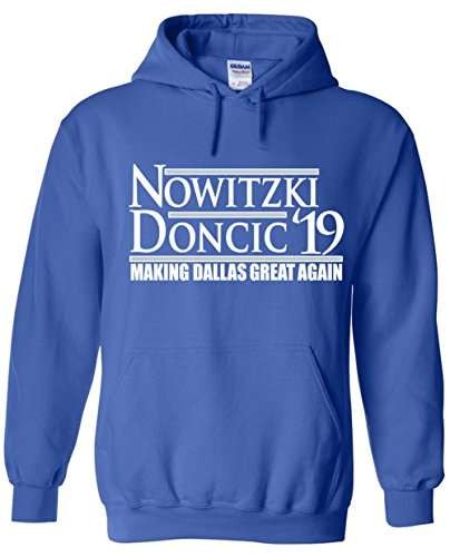 "WB SHIRTS Blue Dallas Dirk Doncic 19"" Hooded Sweatshirt Adult"