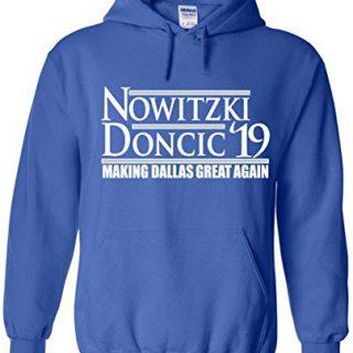 "WB SHIRTS Blue Dallas Dirk Doncic 19"" Hooded Sweatshirt Adult"