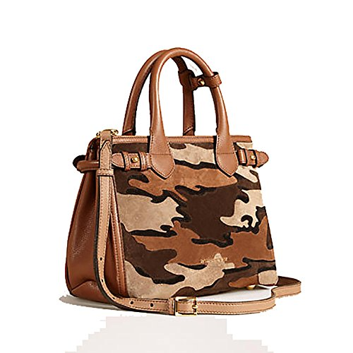 Tote Bag Handbag Authentic Burberry The Small Banner in Camouflage Suede Tan Item Made in Italy