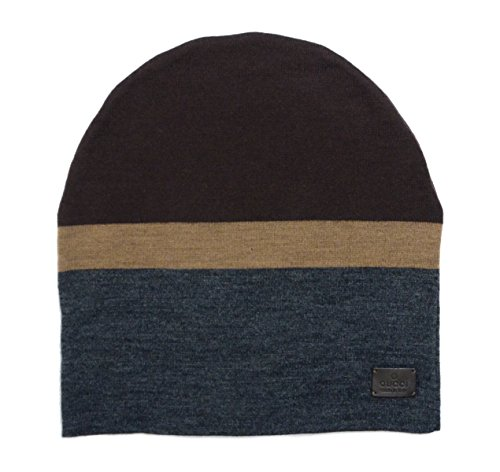 Gucci Men's Beanie Ski Wool Knit Cap Hat with Signature Leather 353999 (Large)