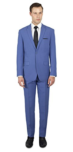 Alain Dupetit Men's Two Button Slim or Regular Fit Suit 38R French-Blue