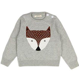 Unisex Kids Baby Winter Cotton Knit Fox Round Neck Pullover Sweater Sweatshirt Outwear 1-5T (2-3 Years/100cm, Grey)