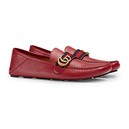 Gucci Men's Noel Leather Web Loafer, Red (Rosso) (8.5 US/8 UK)