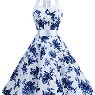 Dressystar Vintage Polka Dot Retro Cocktail Prom Dresses 50's 60's Rockabilly Bandage Blue White S