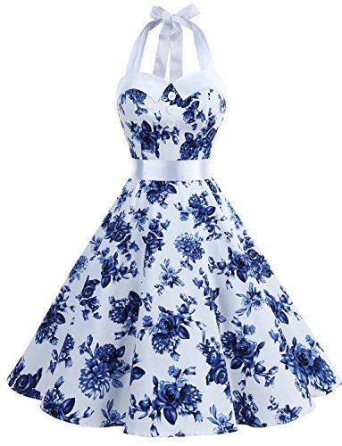 Dressystar Vintage Polka Dot Retro Cocktail Prom Dresses 50's 60's Rockabilly Bandage Blue White S
