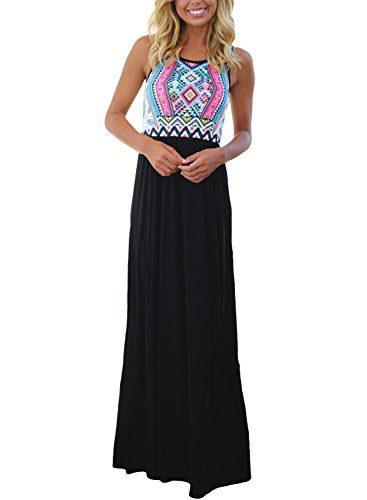 Asvivid Women's Chevron Geometric Printed Tank Top Floor Length Tunic Maxi Dress Small Black1