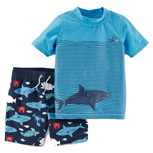 Just One You by Carters Toddler Boys' Sharks Short Sleeve Rash Guard Swim Set Blue, 4T