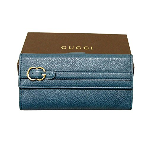Gucci Women's Brown Continental Leather Wallet Clutch (Blue)