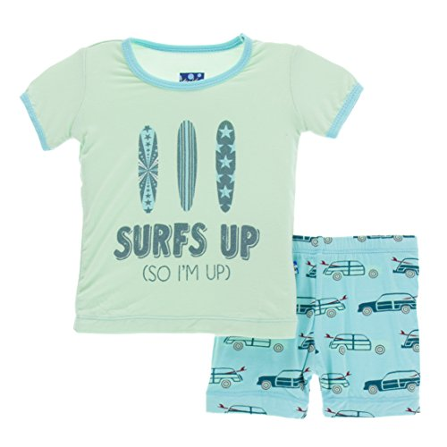 Kickee Pants Little Boys Print Short Sleeve Pajama Set With Shorts, Shining Sea Woody, 2T