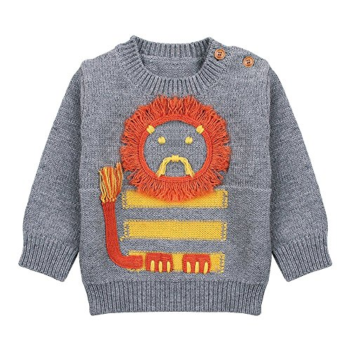 7d147f52e Little Boys  Crewneck Lion Knit Pullover Sweater Tops (Baby boy  Toddler)  (2-3 Years
