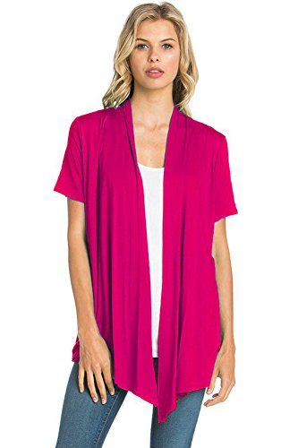 12 Ami Basic Solid Short Sleeve Open Front Cardigan Fuchsia Pink Extra Large