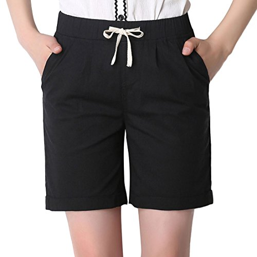 Chartou Women's Modest Loose Elastic-Waisted Bermuda Drawstring Casual Shorts (XX-Large, Black)
