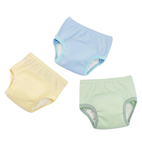 Happy childhood Pack 3 Baby Boys Girls Training Pants Diaper Nappy Underwear 4 Layers Waterproof Breathable (C, 75-85cm)